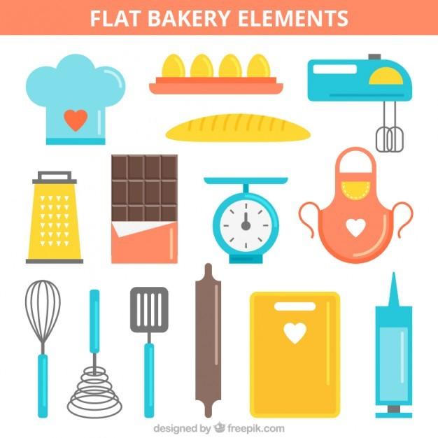 Colourful bakery elements