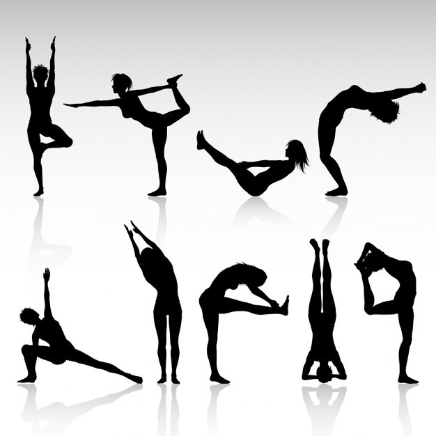 Silhouettes of females in various yoga poses