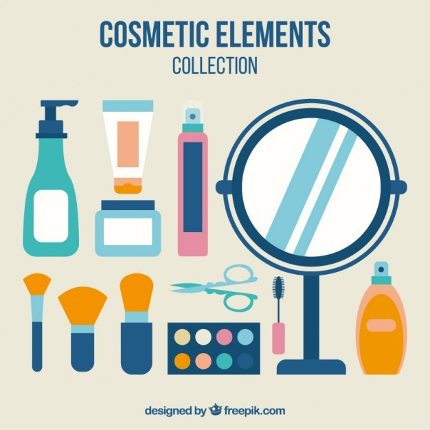 Objects of cosmetics in flat design