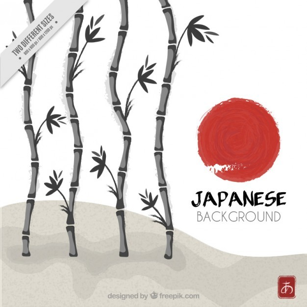 Hand painted bamboo japanese background
