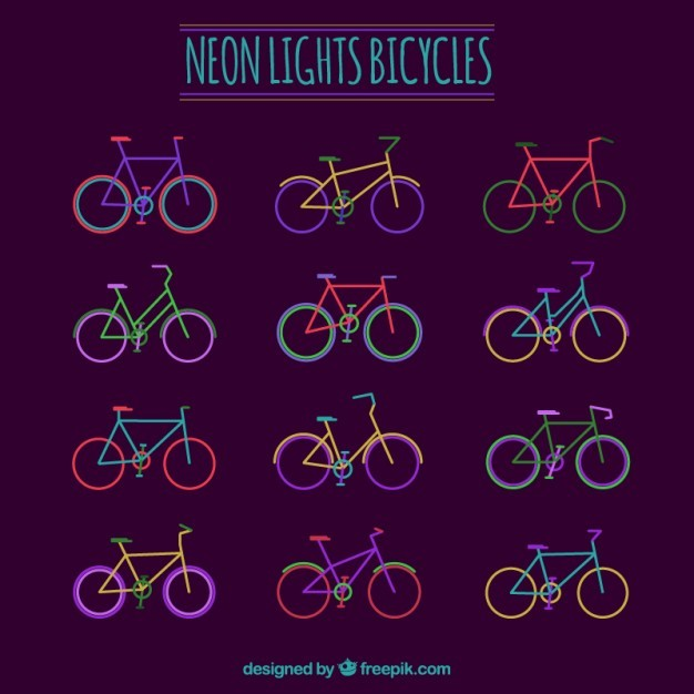 Neon lights bicycles collection