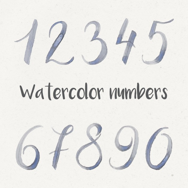 Watercolor numbers collection