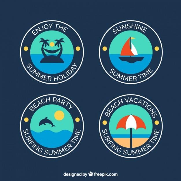 Badges of summer in flat design