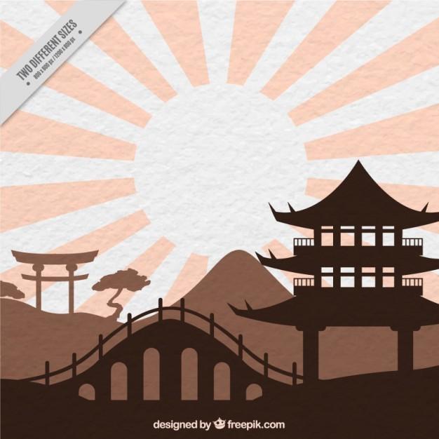 Coloured oriental landscape