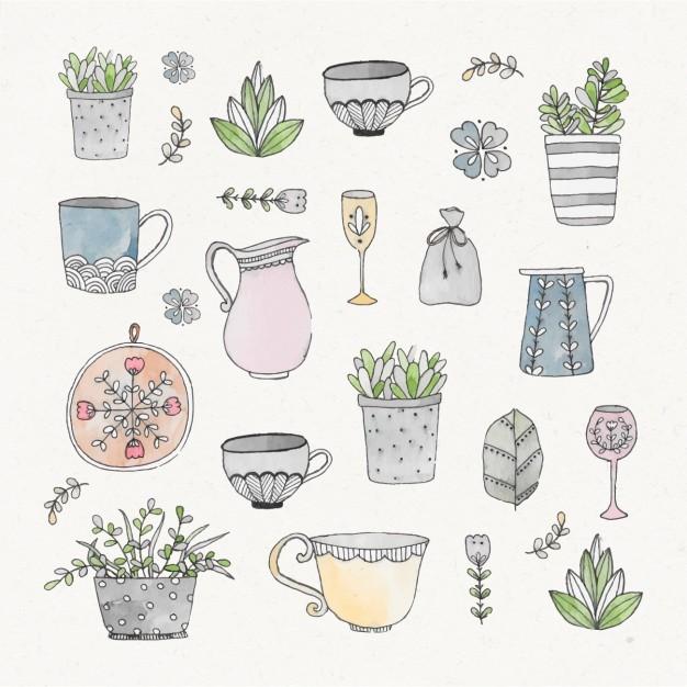 Watercolor gardening elements