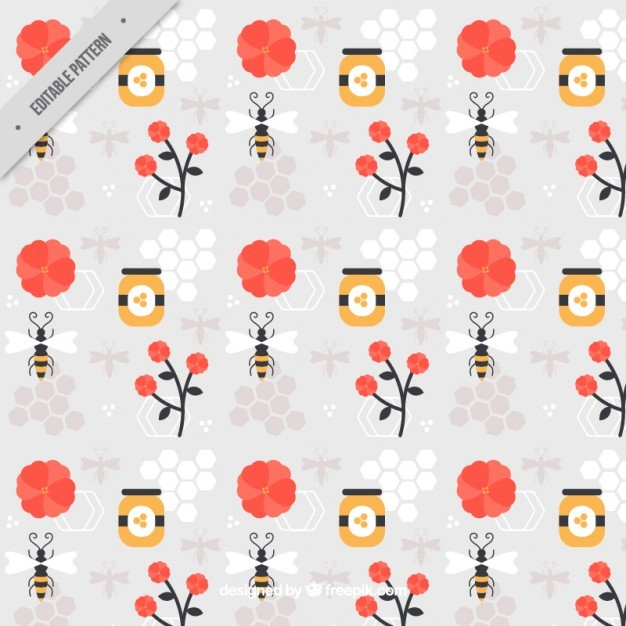 Honey with bee and flowers pattern