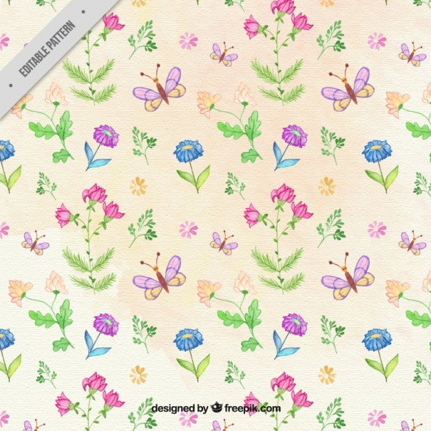 Hand drawn flowers and butterflies pattern