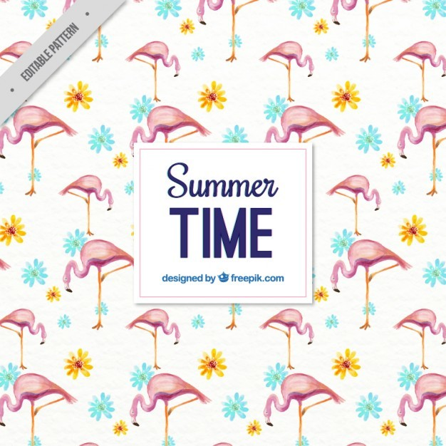Watercolor summer pattern with flamingos and flowers