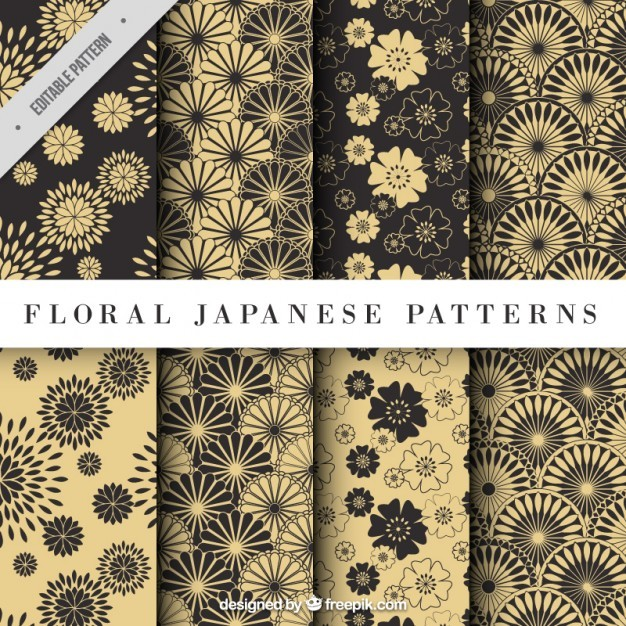 Yellow floral japanese pattern