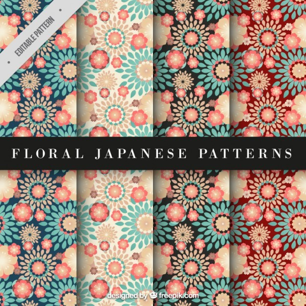 Red and blue floral japanese pattern