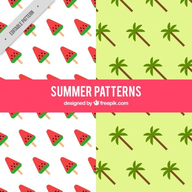 Patterns of watermelon and palm tree