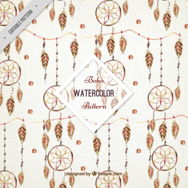 Watercolor dreamcatchers pattern
