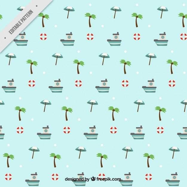 Palm trees with boats pattern