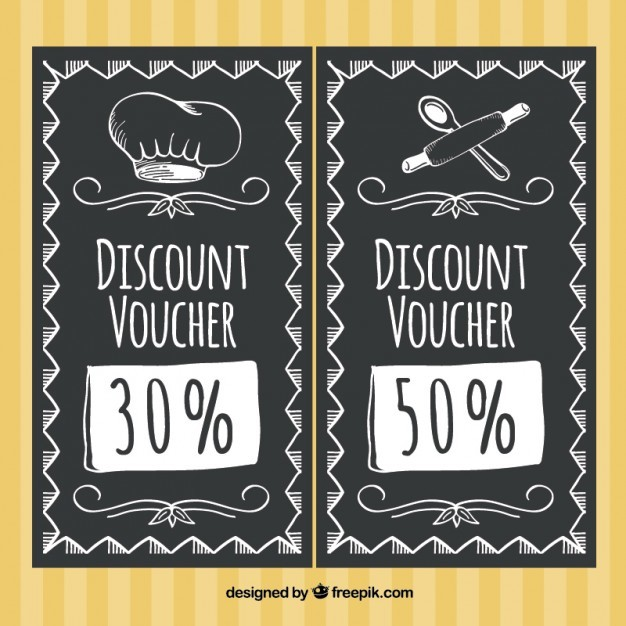Discount restaurant in blackboard style