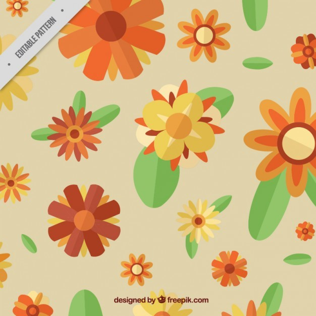 Vintage flowers pattern with leaves in flat style