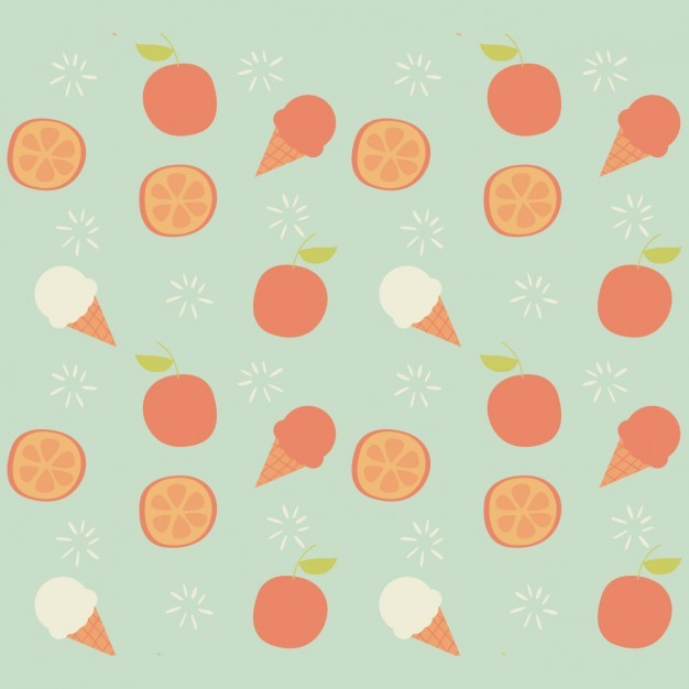 Ice creams and fruits pattern design