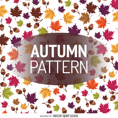 Autumn leaves and acorns pattern