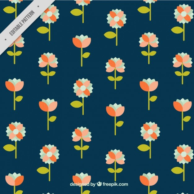 Decorative pattern with pretty flowers in flat style