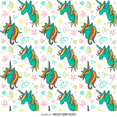 Colorful unicorn drawings pattern
