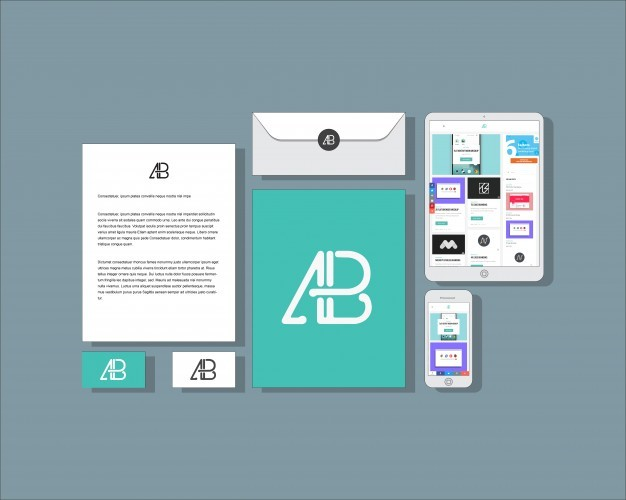 Flat business stationery mock up