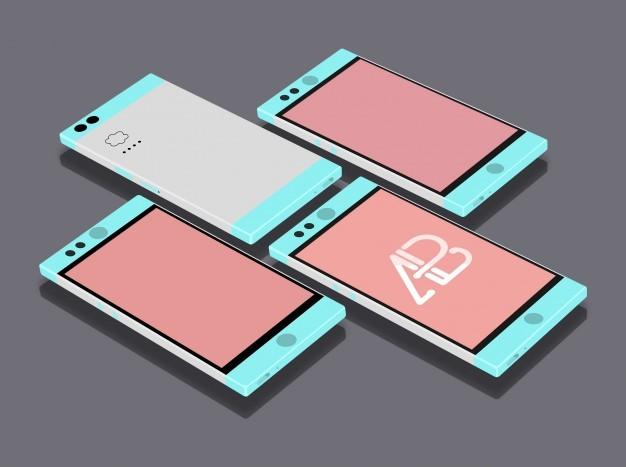 Flat mobile phones mock up