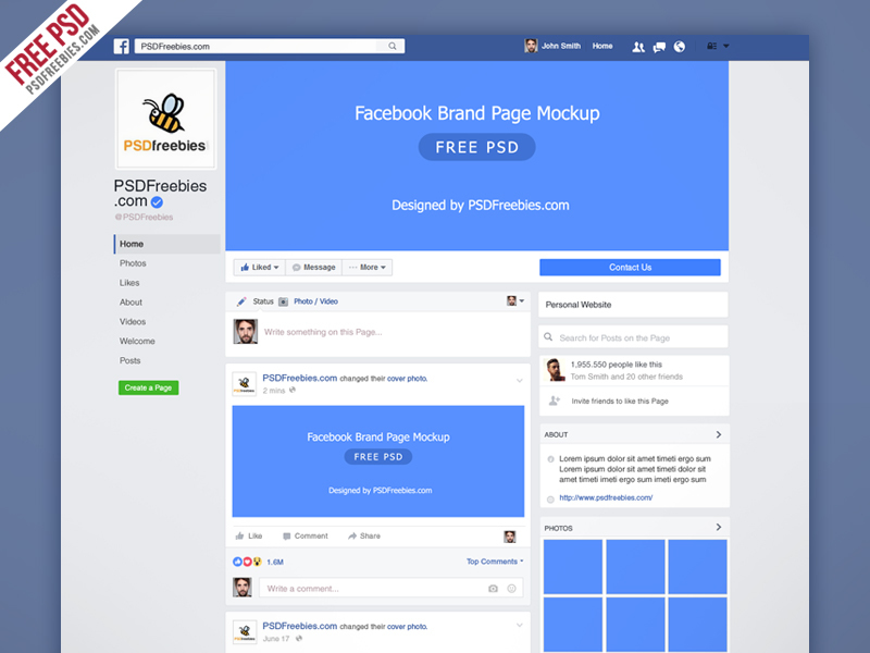 Facebook New Brand Page 2016 Mockup PSD