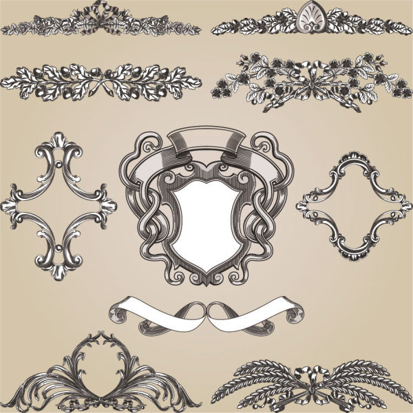 European-style lace pattern 01 - Vector