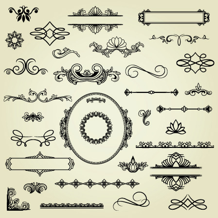 European-style lace pattern 04-- vector material