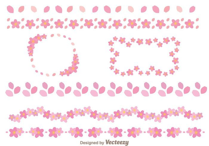 Sakura Flowers Border Template
