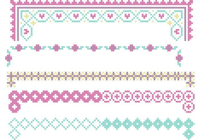 Cross Stitch Border Vector Set
