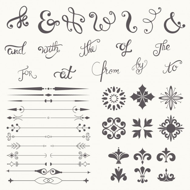Calligraphy design elements collection