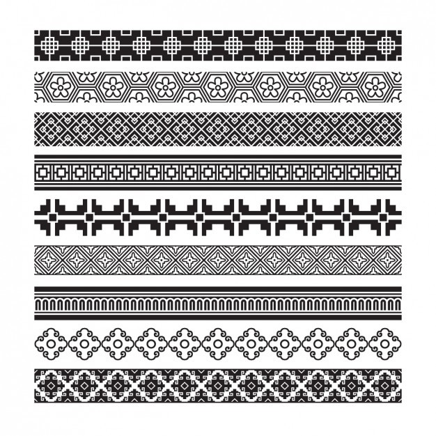 Decorative abstract borders set