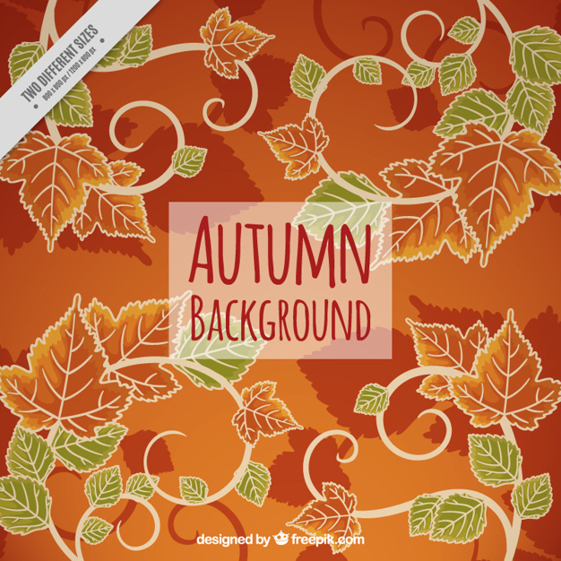 Autumnal background with leaves in orange and green tones