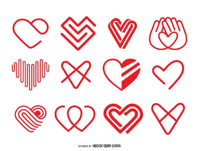 Heart icon logo template set