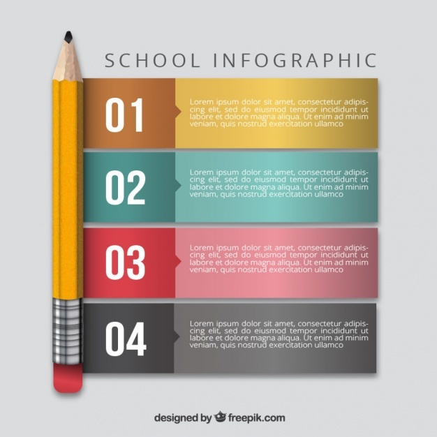 Infography with a pencil and four options