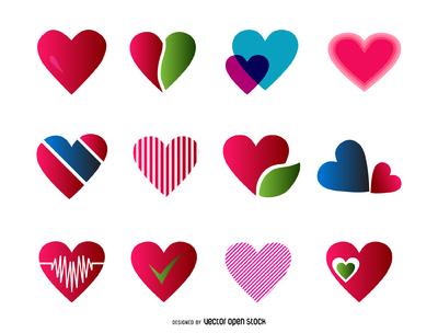 12 heart logo templates set