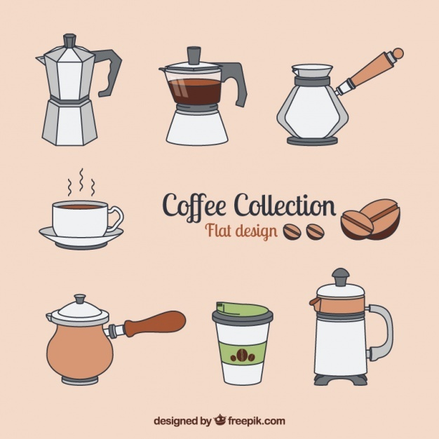 Flat collection about the coffee