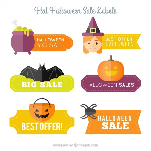 Six flat labels for halloween discounts