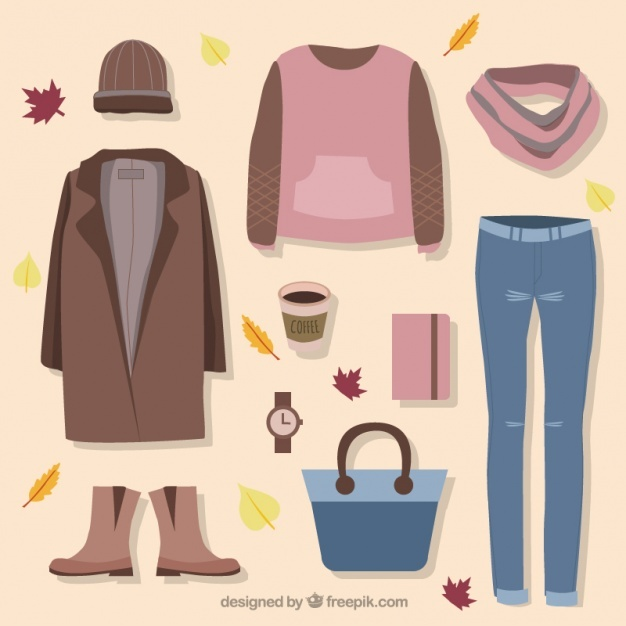 Set of clothes and accessories for autumn