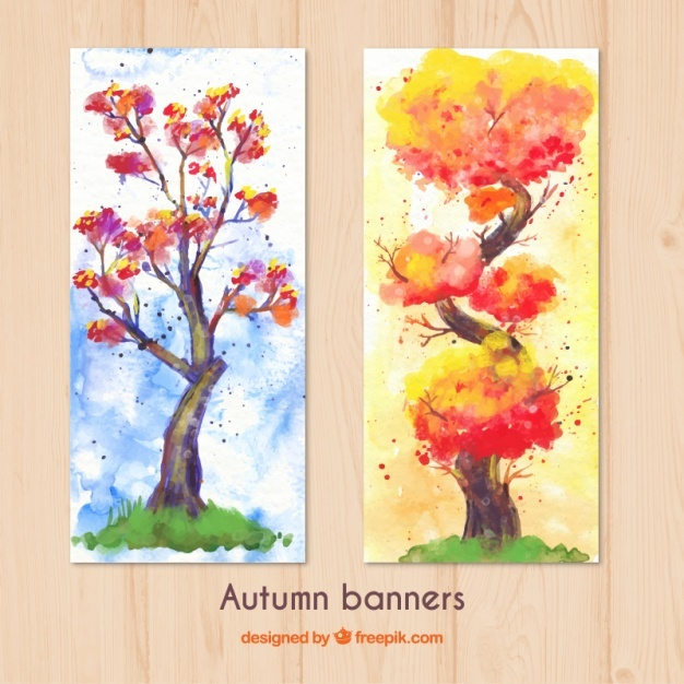 Watercolor autumn tree banners
