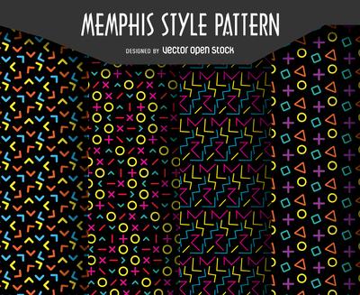 High contrast retro pattern set