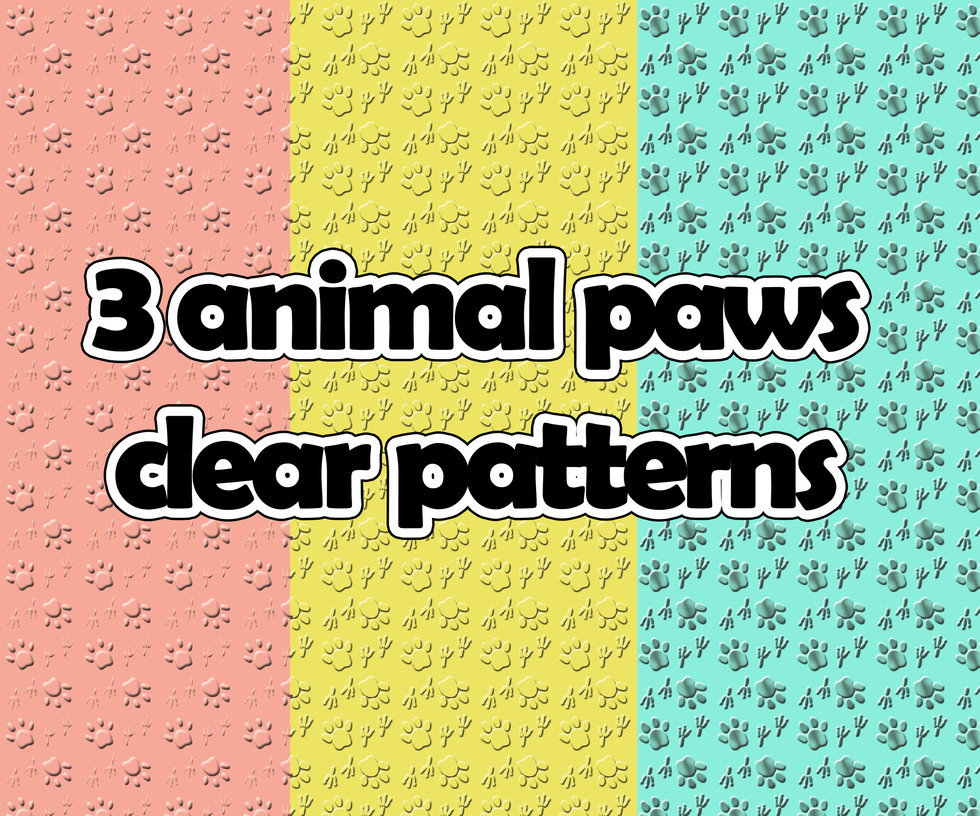 3 animal paws clear pattern