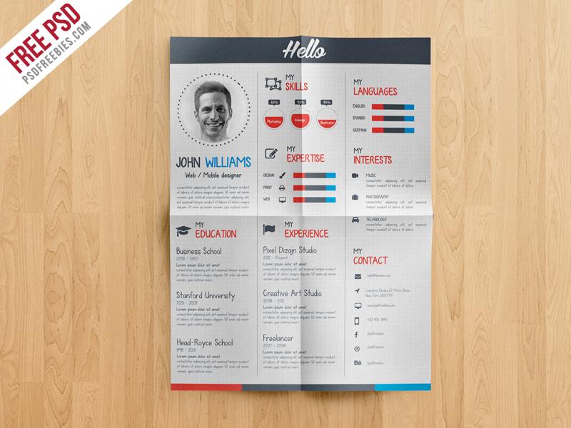 Creative Resume CV Template Free PSD