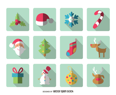 Flat Christmas square icon pack