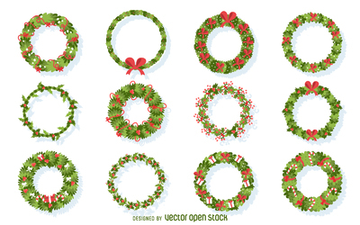 Flat Christmas wreath illustration collection