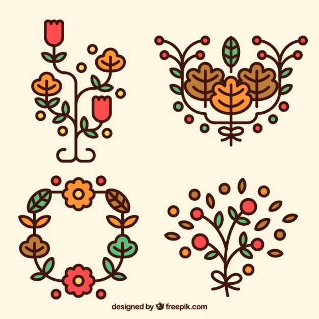 Pack of autumnal ornaments
