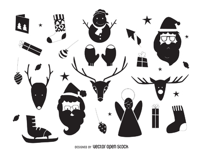 Hand drawn Christmas elements silhouettes