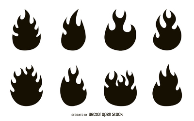Fire flame silhouette collection