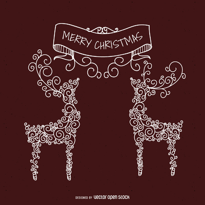 Deer swirls Christmas illustration