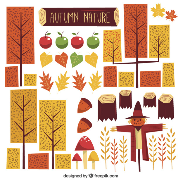 Great set of geometric autumnal elements